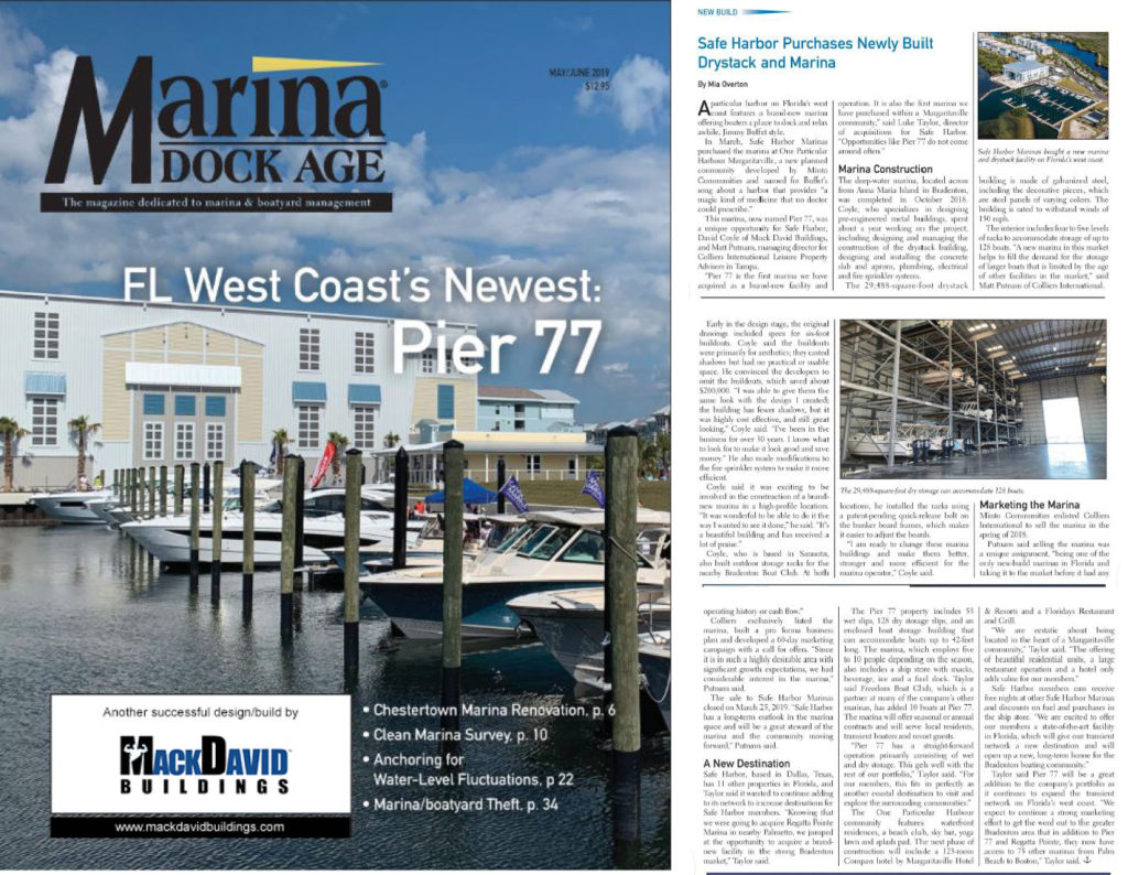 Marina Dock Age cover article for Pier 77 by Mack David Buildings